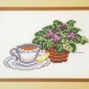 Framed Needlepoint Tea African Violet Bamboo Wood